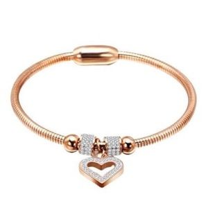 Rose Gold Stainless Steel Magnetic Heart Bracelet
